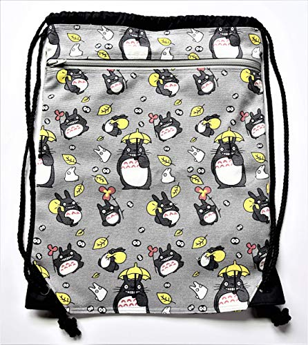 Fabric Covered,Nylon Lined,Drawstring Backpack,Your Choice: Totoro,Spirited Away No-Face,Harley Quinn DC Comics,Aladdin's Genie,Cheshire -