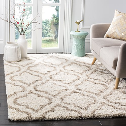 Safavieh Hudson Shag Collection SGH284D Ivory and Beige Moroccan Geometric Area Rug (6