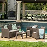 Great Deal Furniture Jacob Outdoor 4 Piece Brown Faux Wicker Rattan Style Chat Set with Mixed Beige Water Resistant Cushions For Sale
