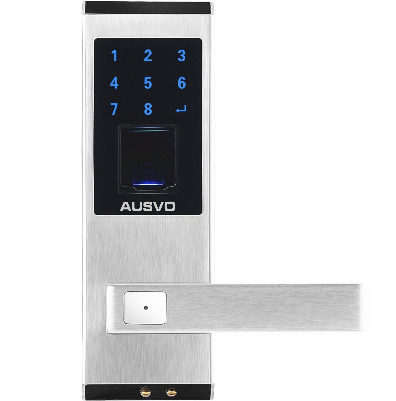 AUSVO Fingerprint Door Lock Biometric Smart Keyless Digital Touchscreen Keypad Lever Lockset with Knob Handle Stainless Steel Right-Handed