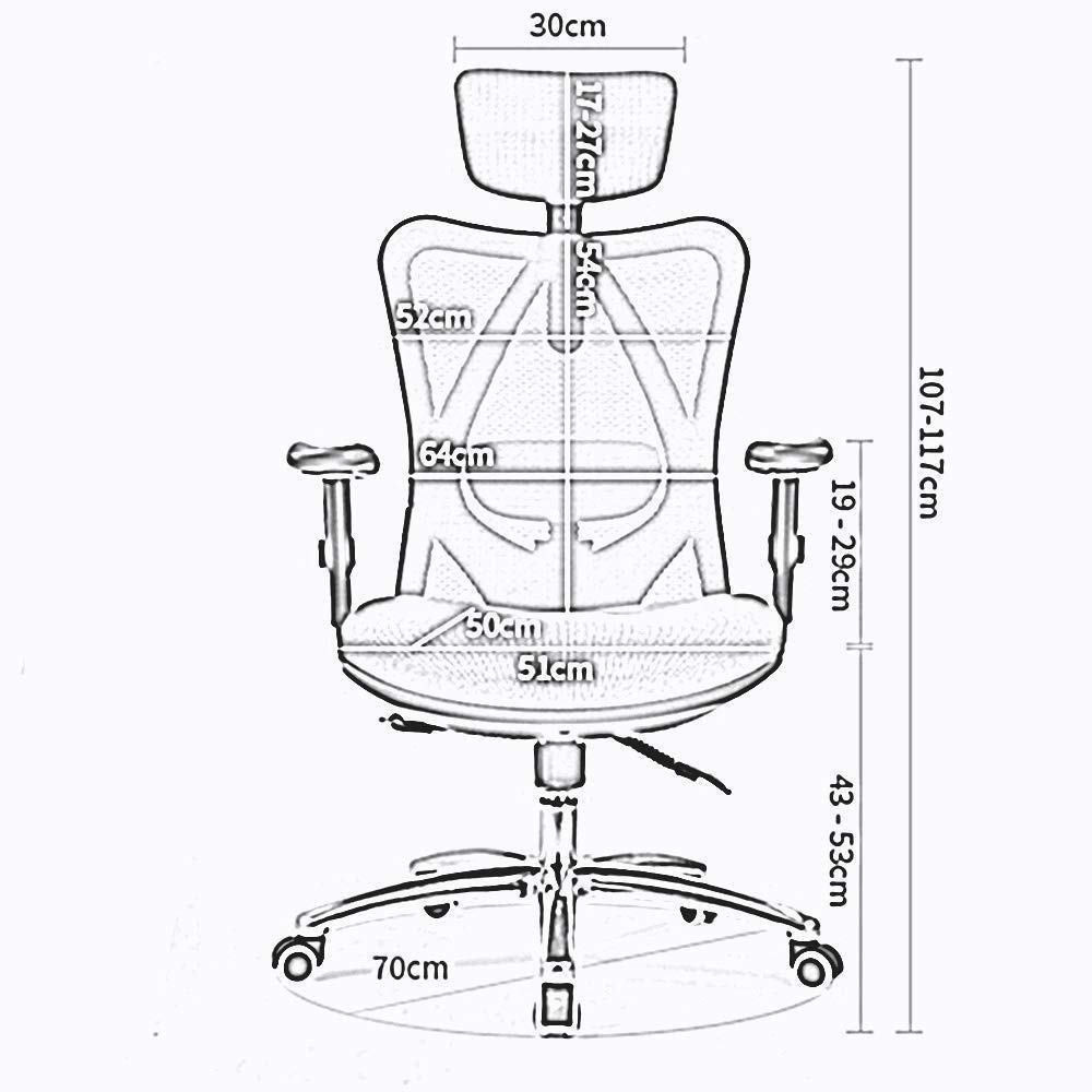 Xiuyun Ergonomisk kontorsstol datorstol hög rygg nät skrivbordsstol hem spelstol justerbar ländrygg stöd 7 cm lyftstång justerbart nackstöd (färg: blå) Orange