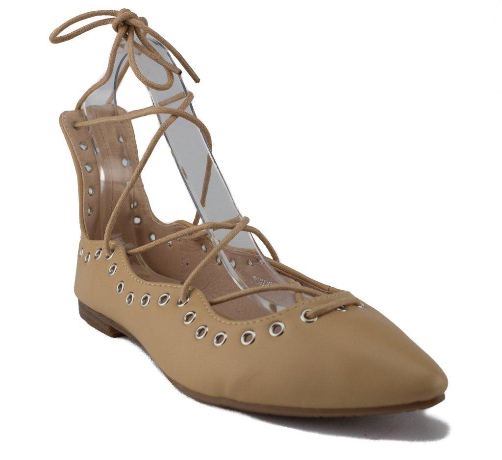 New Womens Danielle Lace up Ankle High Ballet Flats Shoes B01DE8QSYG 9 B(M) US|Beige