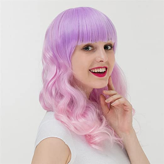 Amazon.com: Gai Hua Home Harajuku Gradient Long Curly Hair Hood Girls Anime Wig COS (Color : Pink): Home & Kitchen