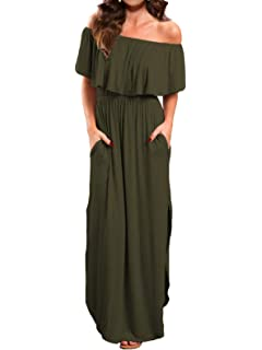 96cd4c3aac Women's Off Shoulder Summer Casual Long Ruffle Beach Maxi Dress with Pockets