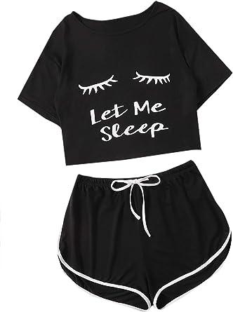 DIDK Conjunto de pijama de verano para mujer, pijama informal, ropa de dormir con camisetas cortas, pantalones