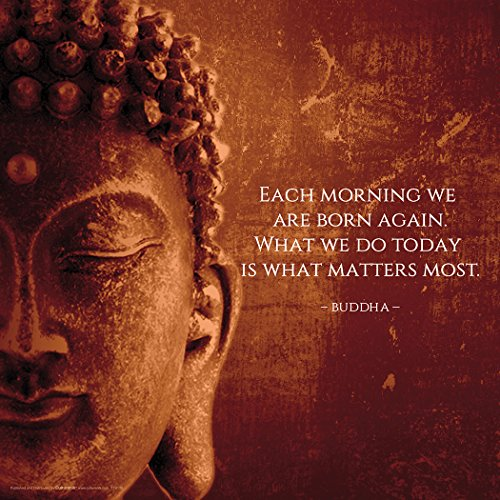Buddha Each Morning Motivational Inspirational Saying Quote Poster Print, Rolled (Unframed 12 x 12 Print) from Culturenik