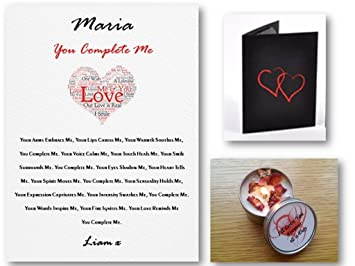 personalised romantic love letter poem candle gift set you complete me suitable for