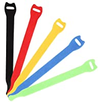 Siming 50 Pieces Reusable Cable Ties, Cord Wraps Adjustable Cable Organizer Colorful Fastening Hook and Loop