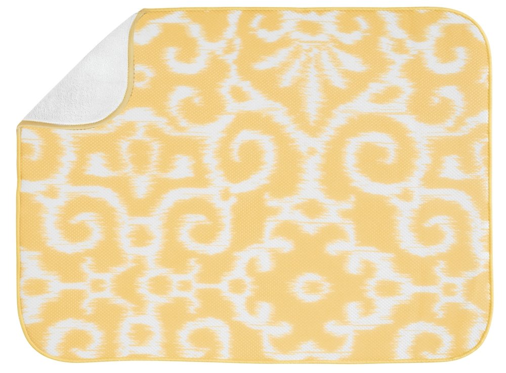 InterDesign iDry Kitchen Mat, 24-Inch by 18-Inch, Yellow/White