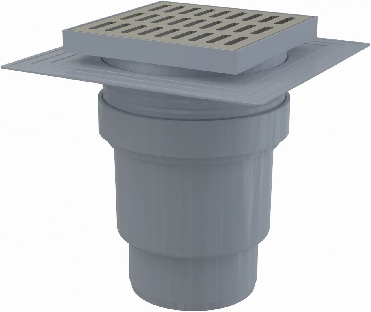 deux niveaux d/'isolation siphon humide sortie verticale collerette grille inox 150x150//110 mm Siphon de sol en plastique