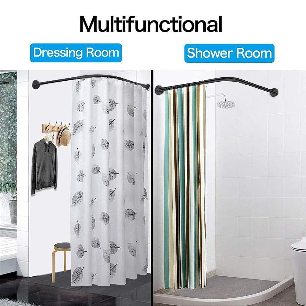 Stretchable Corner Shower Curtain Rod Adjustable L Shaped Shower Curtain Rod Tension Black Rustproof Drill Free Install Clothing Store 70 to 95 x 70 to 95cm for Bathroom