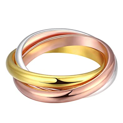 Amazon Com Naivo Tri Color Triple Band Rolling Ring 18k Gold Plated