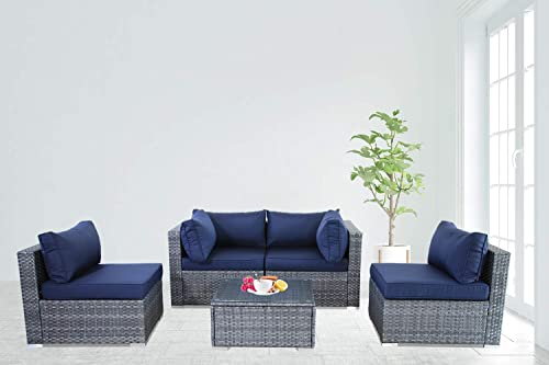 Outime Patio Furniture Rattan Sofa Grey Wicker Couch Set Garden Outside Sectional Seating Home Furniture w Coffee Table Navy Blue Cushion 5pcs