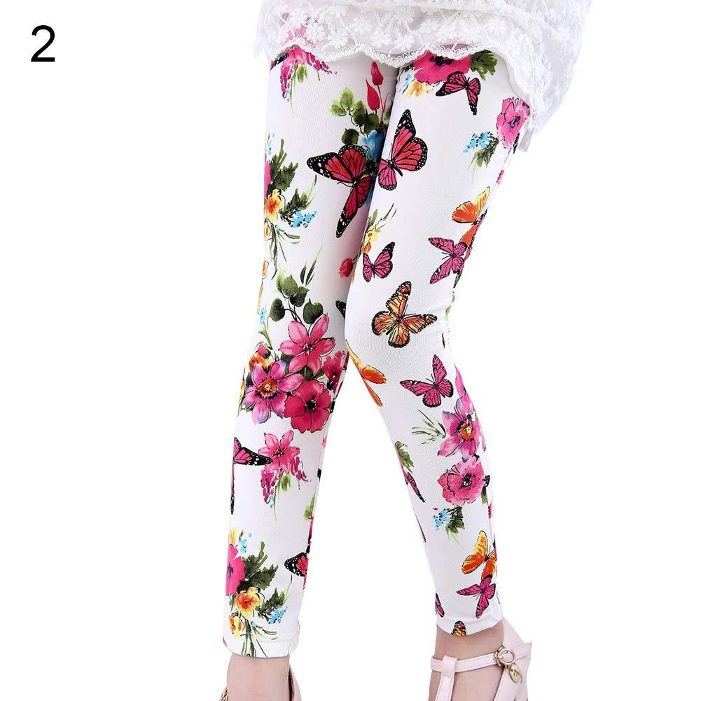 Newstrength Fashion Kids Girl Pants Trousers Flower Butterfly Star Print Cotton Leggings