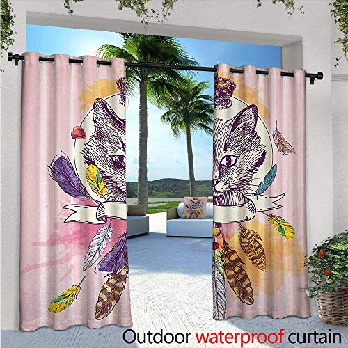 Feather Outdoor Blackout Curtains W96 x L108 Hand Drawn Head of Cat with Crown Sketchy Boho Ink Drawing Style Hippie Animal Outdoor Privacy Porch Curtains Pink Multicolor