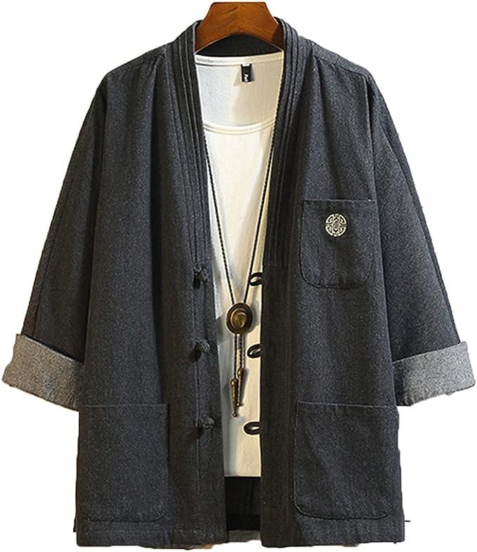 メンズソフトデニム着物ジャケットカエルクロージャー刺繍柄スリーブジャパンスタイルコート