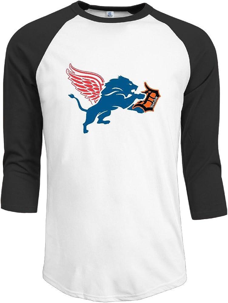 ElishaJ Men's Detroit Sports Logo Mixed 3/4 Raglan Sleeves Baseball T-Shirt Black