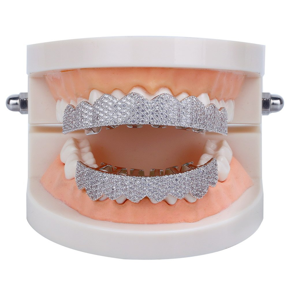 JINAO 18K Gold Plated Gold Finish 8 Top Teeth & 8 Bottom Tooth Hip Hop Mouth Grills (Silver ICED Out CZ) by JINAO (Image #2)