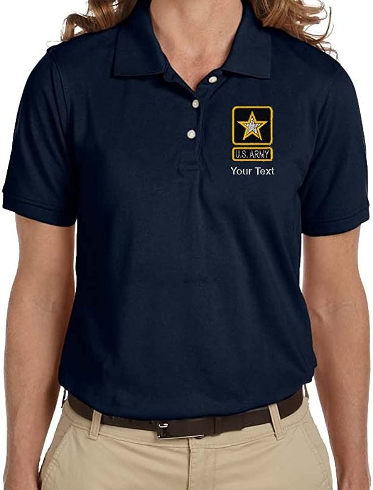 Personalized Custom Embroidered U.S Textured Army Star Design on Ladies Pique Polo Shirt