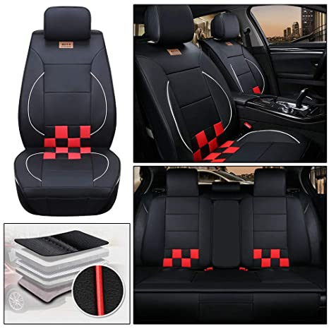 Leatherette seat covers fit Volvo S40 1+1 black//red