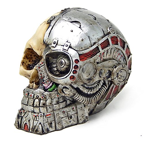 [Steampunk Protruding Gearwork Robotic Human Skull Statue Figurine] (Steampunk Decorations)