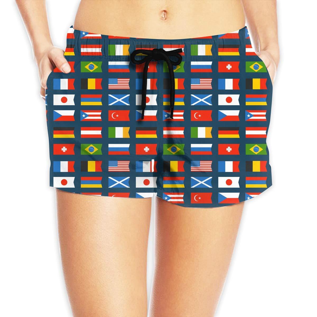 Hlcenng Flags Pattern Womens Boardshorts Fashion Beachwear
