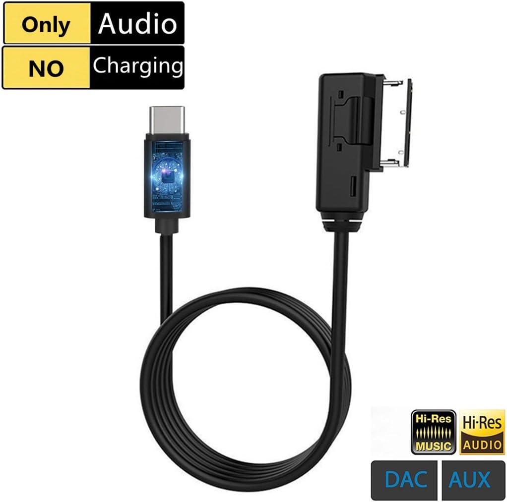 Audi AMI to USB C AUX Cable, VW MDI MMI Type C Digital Car Audio Adapter, Compatible with Pixel 2 XL HTC U11U12+ Moto Z2 Samsung S9S8Note 8 LG G6