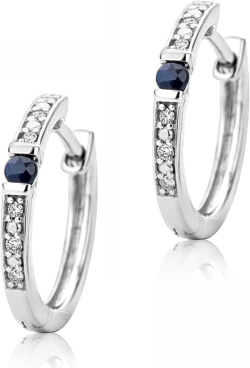 orovi Mujer Diamante Oro Pendientes de aro pendientes oro blanco con azul zafiro pendientes de 9quilates (375) Pendientes de joyas brillianten 0.016CRT