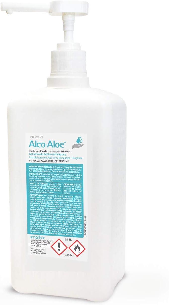 Alco-Aloe Gel Hidroalcoholico - Desinfectante de manos (1 L con bomba dosificadora)