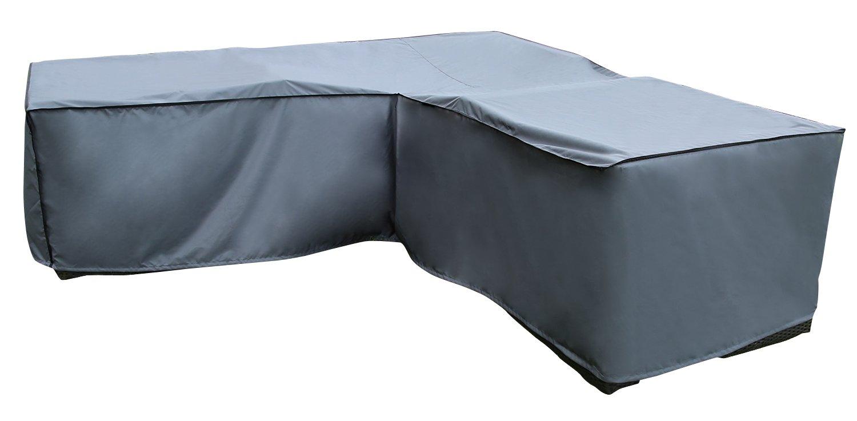 Copri Copertura Cover Protezione per Divano Angolo | 210 x 270 x 85 x 65/90 cm (L x P x A) | Grigio | Idrorepellente | SORARA | Poliestere con strato in poliuretano | Per Mobili da Giardino, Terrazzo