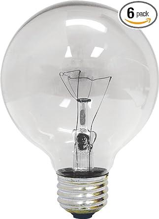 25 Watt Light Bulb: GE 12983-6 25 Watt Globe G25 Light Bulb, Crystal Clear, 6-,Lighting