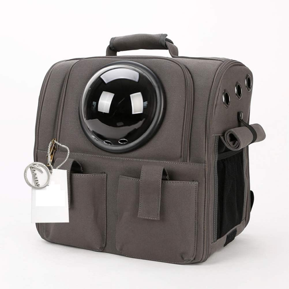 Greyblackring IW.HLMF Pet Carrier, Cat Dog Puppy Travel Hiking Camping Pet Carrier Backpack, Waterproof oft-Sided Handbag Space Capsule Bubble Design,GreyBlackring