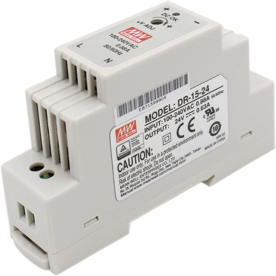 Heschen Meanwell fuente de alimentación conmutada DR-15-24 15W 24V 0.63A DIN-Rail UL CE listado