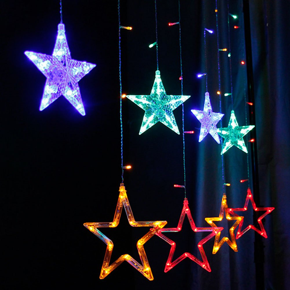 Buy Climberty 12 Stars 138 Led Window Curtain String Lights With 8 Wire Christmas Light Wiring Diagram Review Ebooks Flashing Modes Decoration For Diwali Party Home Patio Lawn White Online At
