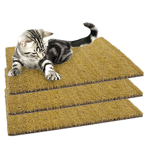 "3 Pack Set of 18"" x 13"" Natural Recessed Cocoa Coir Cat Scratching Mats Refill Pads"