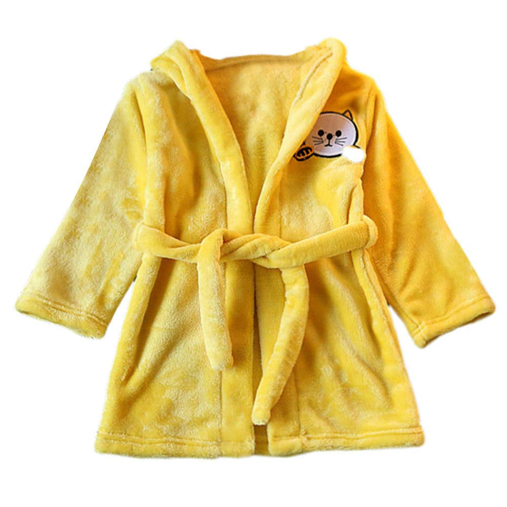 succeedtop Baby Boys Girls Kids Bathrobe Cartoon Cat Animals Hooded Towel Pajamas Clothes Baby Long Sleeve Plush Garment Tops Jacket Biouse for Children Toddler Baby Girl Kid Costume (2-3Y, Pink)
