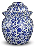 9.5'' Blue and White Flora Porcelain Pickling Jar with 2 Lids Fermenting Pickling Kimchi Chinese Japanese Korean