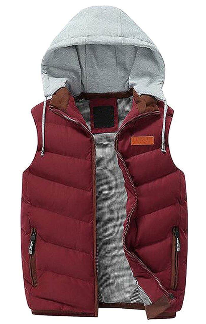 LD Mens Winter Warm Hoodie Quilted Vest Outdoor Puffer Vest
