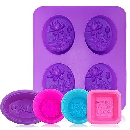 AFUNTA Silikon-Seifenformen, 5 Stück/8 Mulden, antihaftbeschichtet, für Cupcakes, Muffins, quadratisch, rund, oval