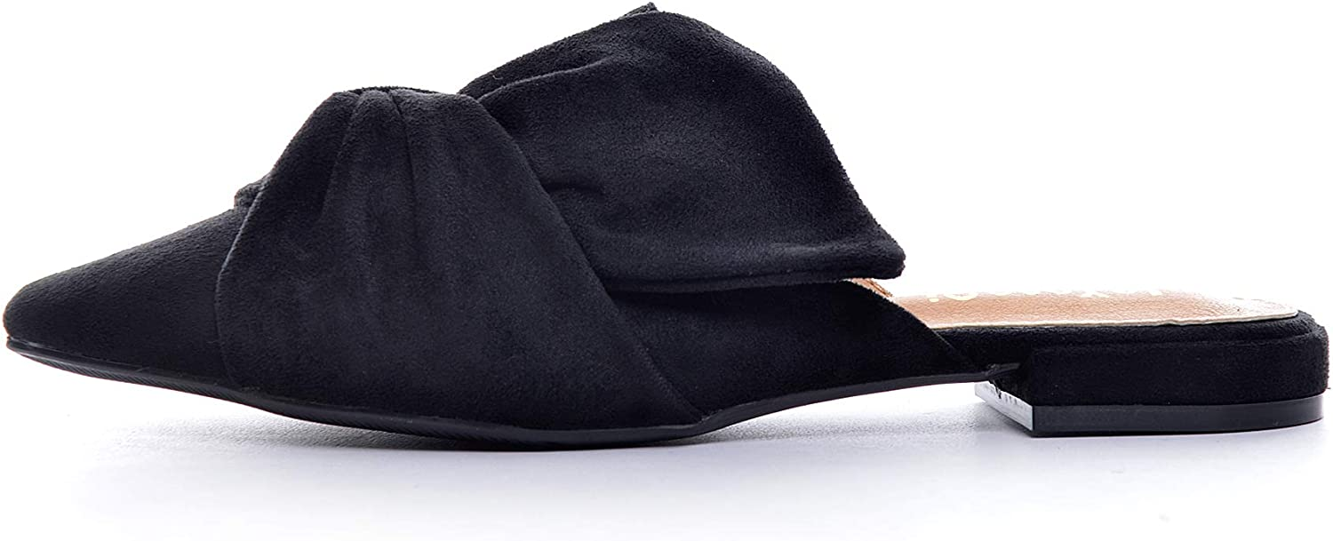 VFDB Womens Bowtie Mule Slippers Summer Pointy Toe Loafers Slip On Flat Shoes