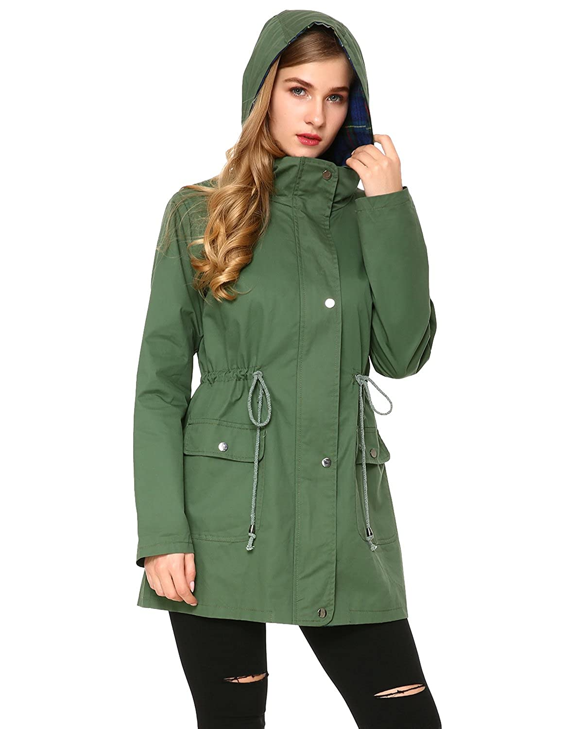 Mixfeer Women's Multifunction Anorak Parka Hoodie Drawstring Jacket with Pockets ZKG9319