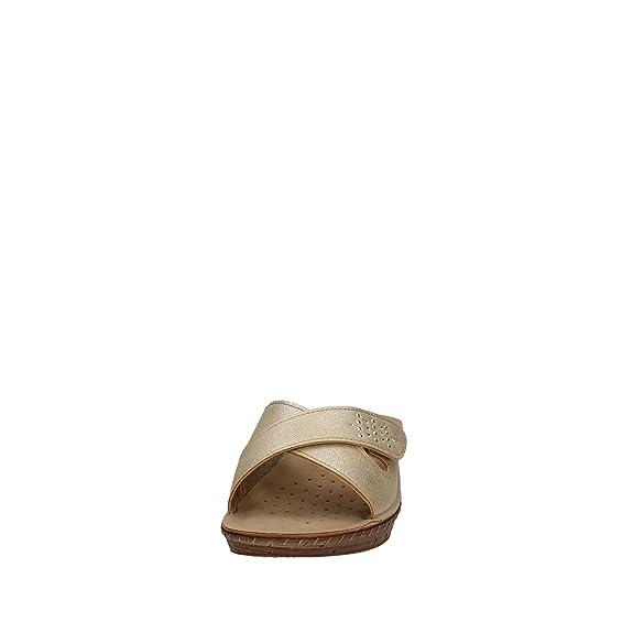 INBLU 26000061 Sabbia Ciabatte Donna Sottopiede Anatomico Soft Tomaia  Incrociata con Velcro Zeppa 4 bbb536dd6b3