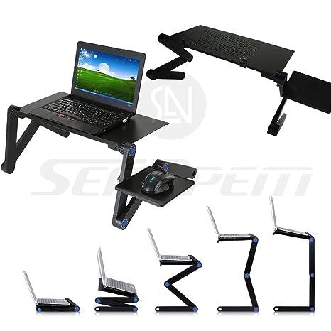 360 ° plegable ordenador portátil bandeja de cama mesa (con ventilador) ajustable multifuncional portátil