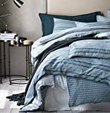 Modern Boho Tribal Bedding Aztec Stripe Print Cotton Duvet Quilt Cover Set Native American Denim Blue and White Bohemian Urban Hippie Geometric Pattern (Twin)