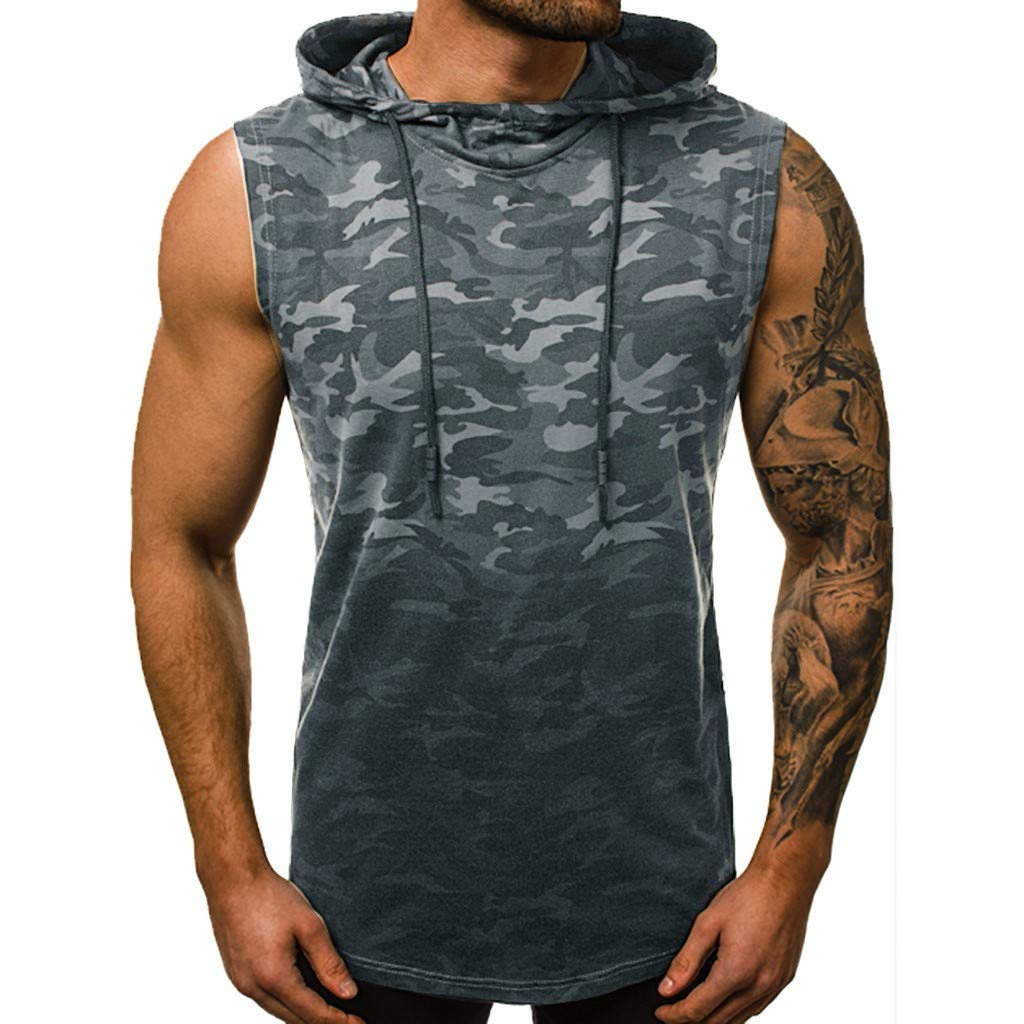 Dainzuy Mens Workout Hooded Tank Tops Bodybuilding Camouflage Print Muscle Cut Off T Shirt Sleeveless Gym Hoodies