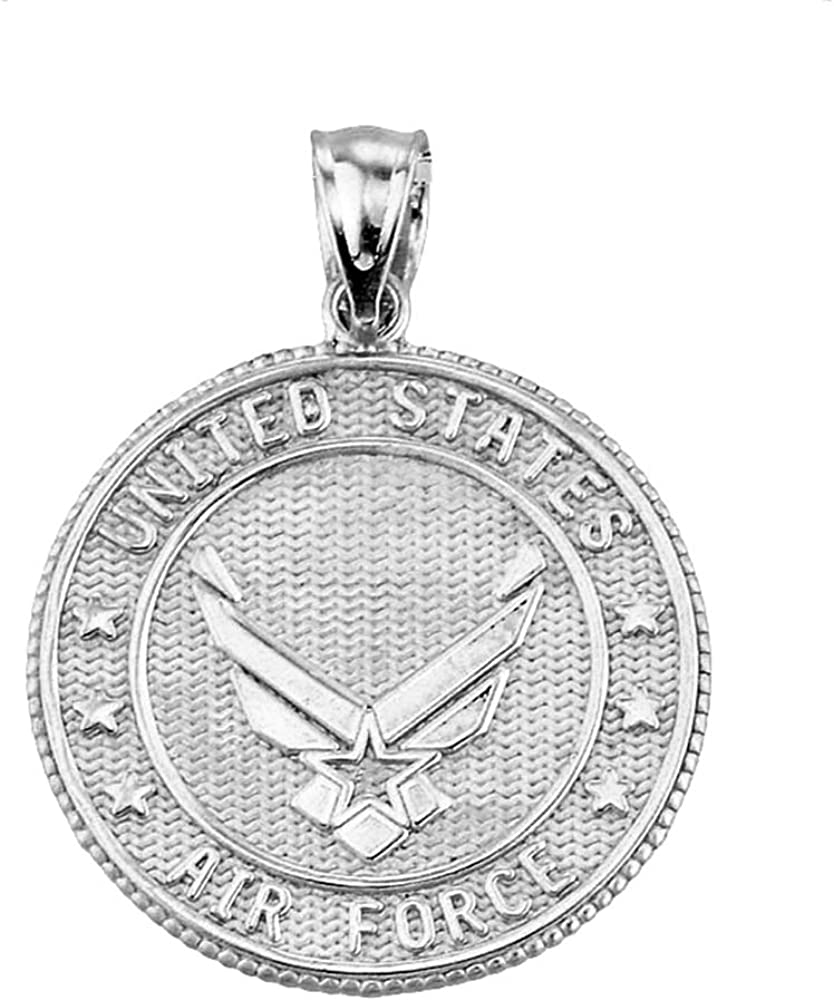 18 Rhodium-Plated Sterling Silver United States Air Force Academy Pendant Necklace