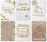 Wedding Greeting Cards - 36-Pack, 6 Rustic Designs Bulk Greeting Cards and Envelopes for Wedding, Engagement, Bridal Shower, Congratulations to Newlywed, Bride and Groom, Mr. and Mrs, 5 x 7 Inches