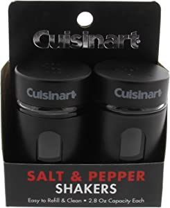 Salt and Pepper Shakers Set, 2.8 ounces - Easy to Fill Glass Salt and Pepper Shakers with Viewing Window - Great for Storing Salt and Pepper, Spices and Seasonings - Black