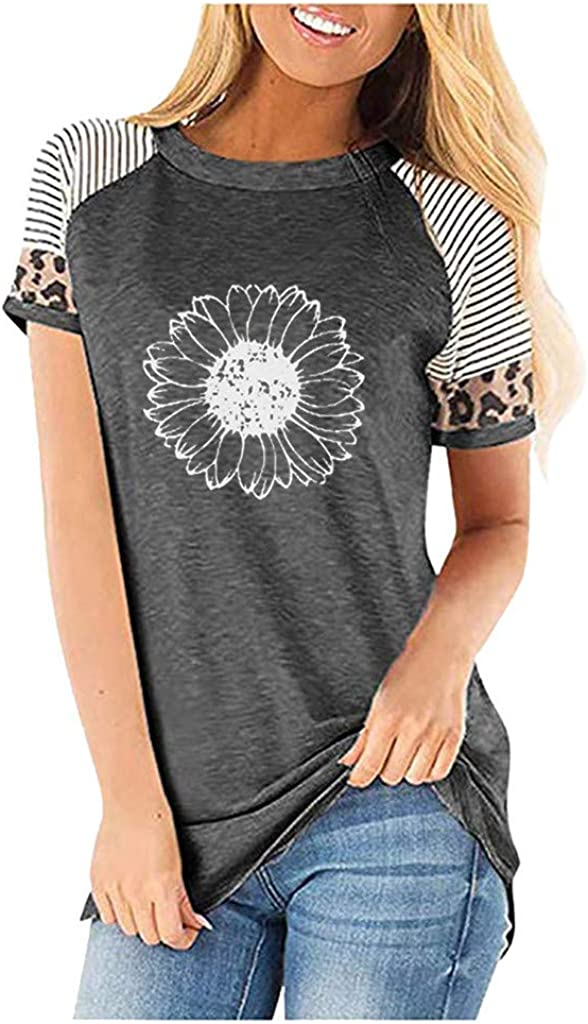 Meikosks Womens Leopard Patchwork Short Sleeves T Shirt Printed Casual Tops Crew Neck Loose Tee