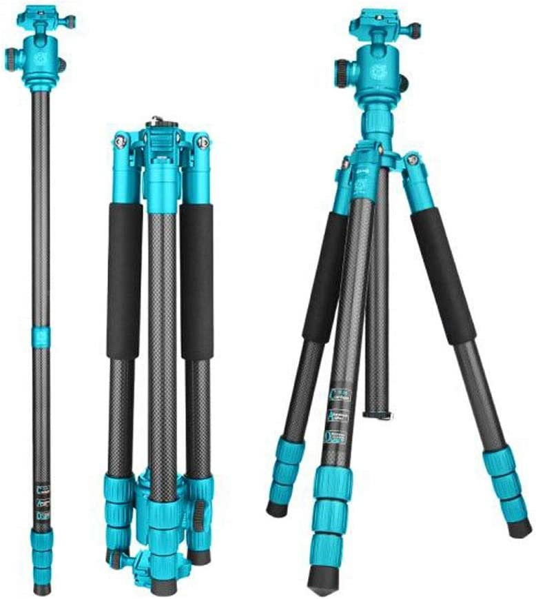 HUIJUNWENTI Camera Stand Color : Gray Professional Carbon Fiber Tripod Stable Stand Detachable Foot Portable Photography Tripod PTZ Set